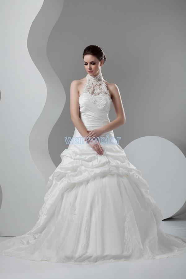 Free Shipping 2016 New Design Hot Seller Custom Size/color Appliques Taffeta Halter Bridal Ball Gown White/ivory Wedding Dress