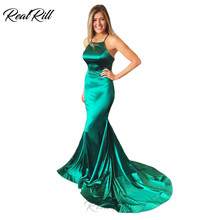 Real Rill Spaghetti Straps Halter Mermaid Evening Dress 2019 Stain Lace Up Back Sweep Train Floor Length Formal