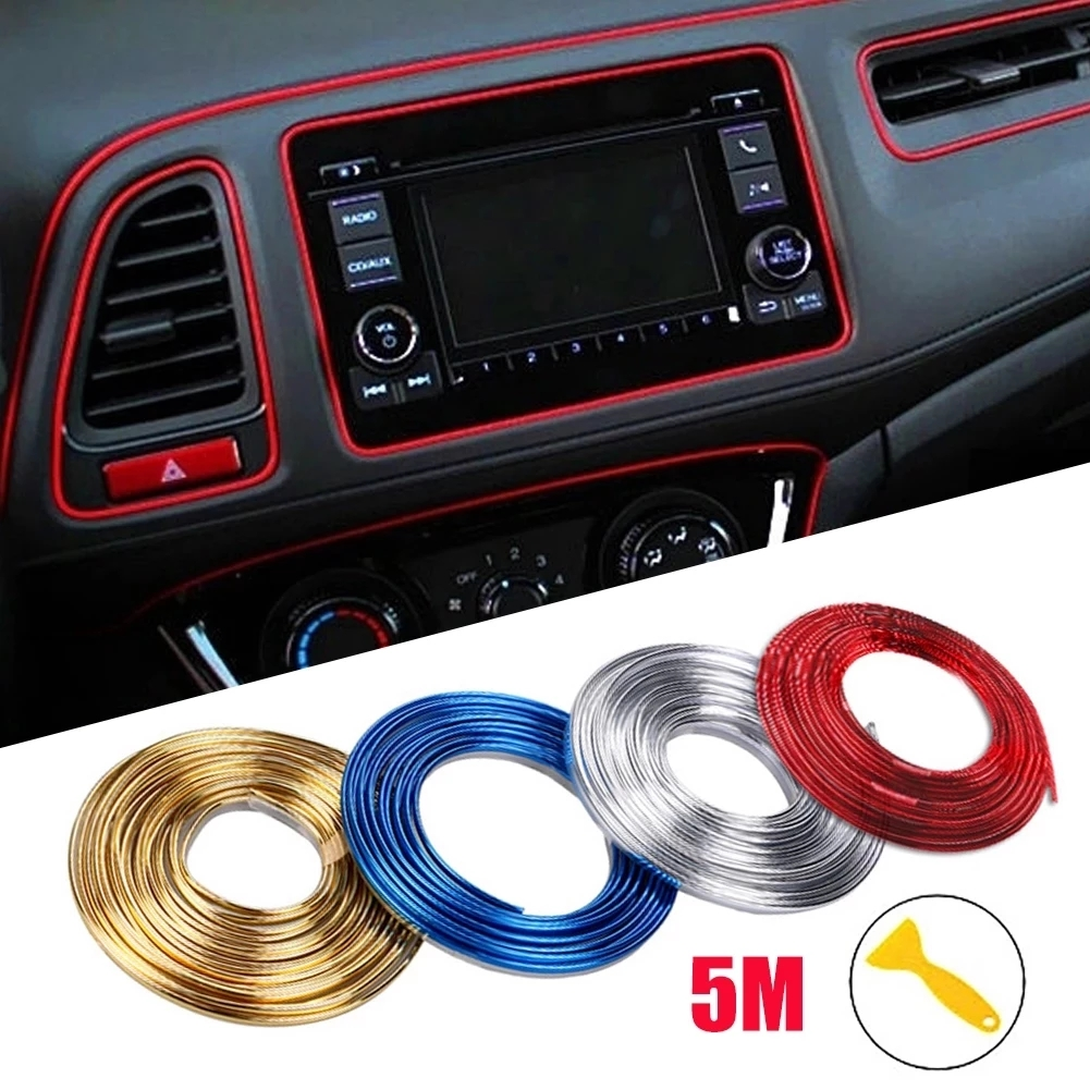 Universal Car Moulding Decoration Flexible Strips 5M/3M/1M Interior Auto Mouldings Car Cover Trim Dashboard Door Car-styling 1