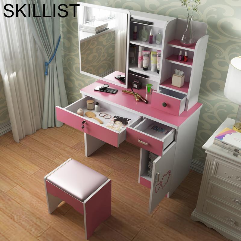 Box Makeup De Maquiagem Avec Miroir Vanity Coiffeuse Schminktisch Mesa Wooden Table Bedroom Furniture Korean Penteadeira