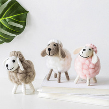 Handmade Cute Wool Felt Sheep Shape Figurines Statue Miniature Mini Doll Model Christmas Home Decoration Ornament Party Supplies