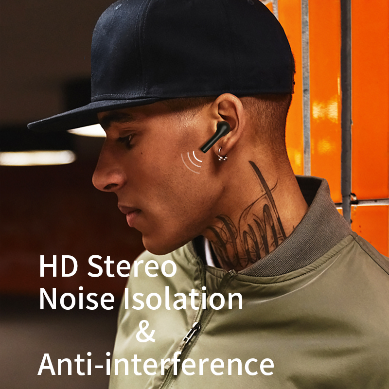 QCY T5 Wireless Bluetooth Headphones V5.0 Touch Control Earphones Stereo HD Talking with 380mAh Battery- 5