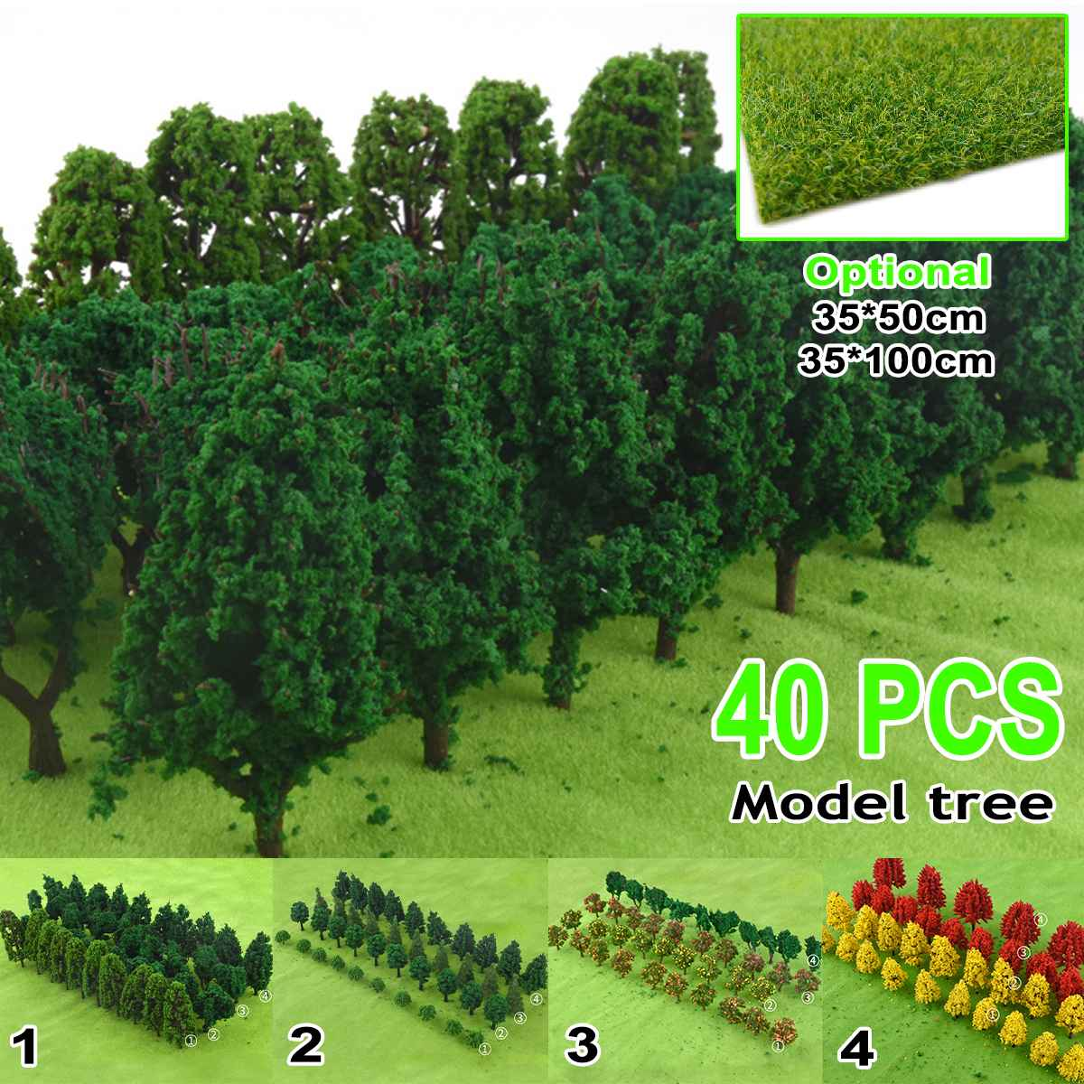 40Pcs DIY Scale Architectural Model Trees Railroad Layout Garden Landscape Scenery Miniatures Tree Building Kit Toy For Kid