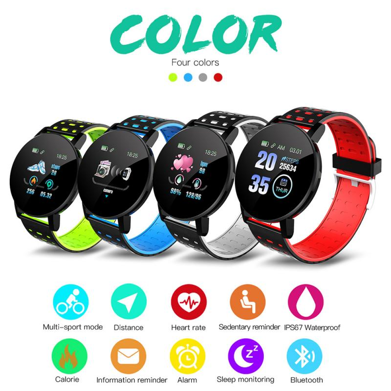 2020 New 119plus Colorful Touch Screen 3D Sport Watch Pedometer Smart Watch Fitness Heart Rate Monitor Women Clock Smartwatch