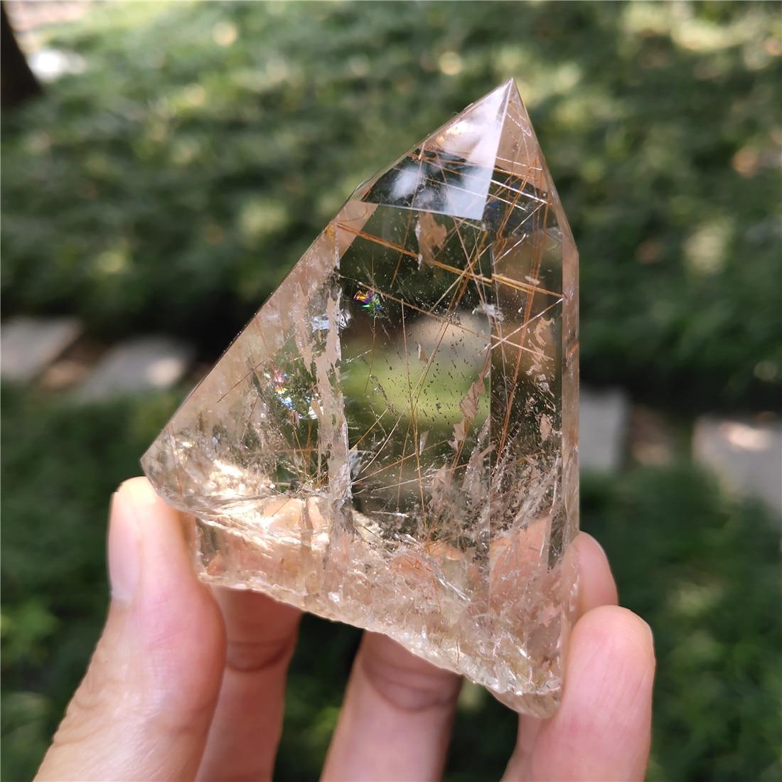 Rutile Cristal Pierre décor à la maison pierres Cristaux Wicca Cristal Pierre Naturelle Cristaux naturel guérison décor Quartz Piedras