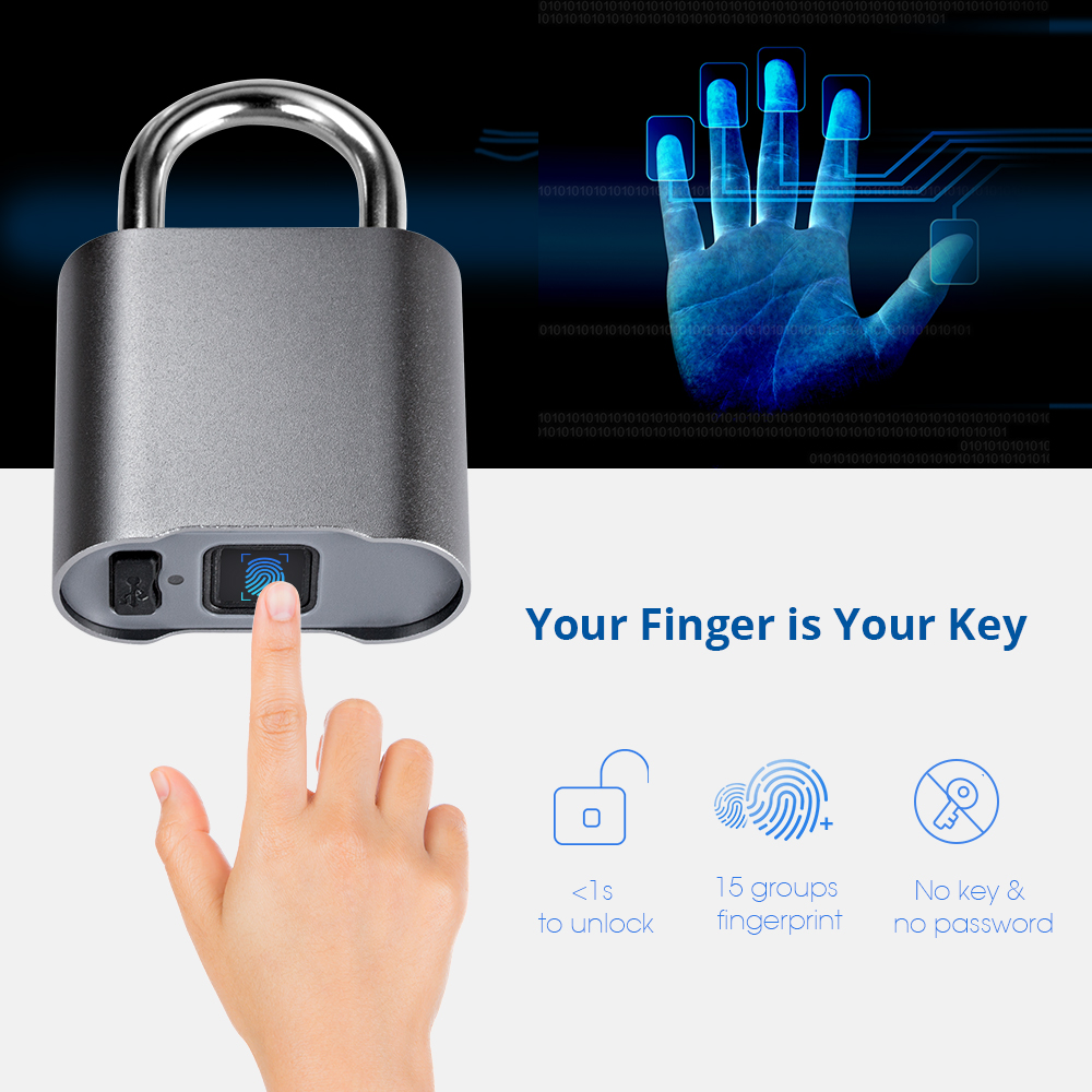 Waterproof Bluetooth Fingerprint Door Lock Luggage Bag Keyless USB Rechargeable AntiTheft Security Padlock