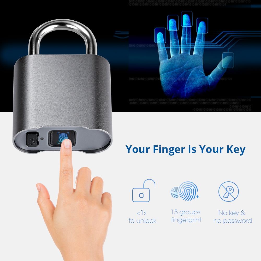 Waterproof Bluetooth Fingerprint Door Lock Luggage Bag Keyless Door Lock USB Rechargeable AntiTheft Security Fingerprint Padlock