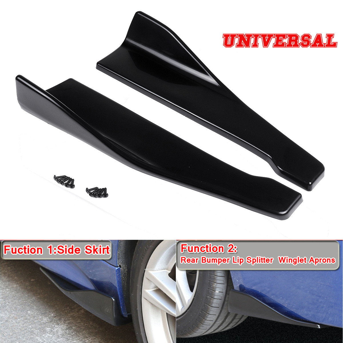 Car Side Skirt Rocker Splitters Winglet Anti-scratch Canard Diffuser Spoiler X 2