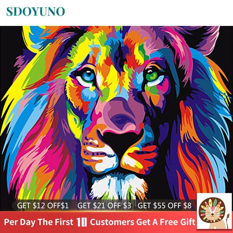 SDOYUNO 60x75 cm Çerçeve Sayılar Kitleri Tarafından DIY Boyama Renkli Aslan Hayvanlar El Boyalı Yağlı Boya ev için duvar süsü