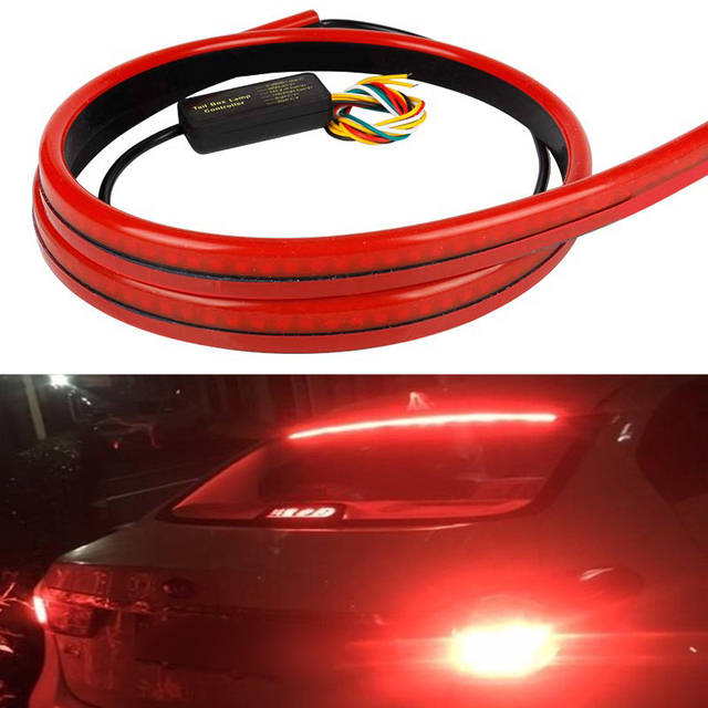 Фото 12v car led strip brake lights auto rear tail warning lighting