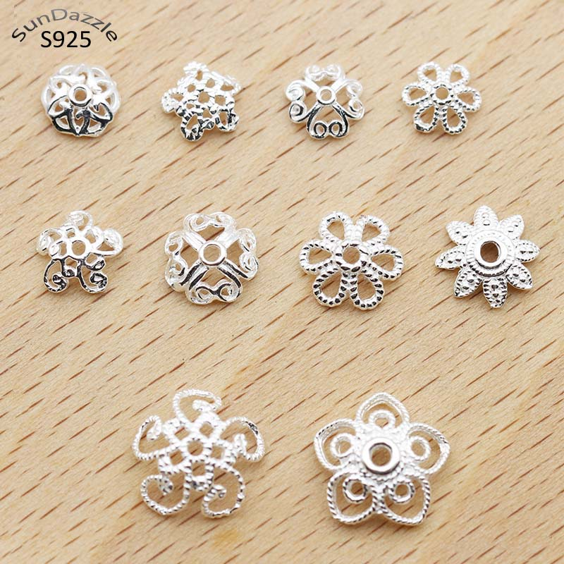 10pcs Real Solid 925 Sterling Plain Silver 5-11mm Flower Bead Caps Necklace Bracelet Connector Jewelry Making Findings