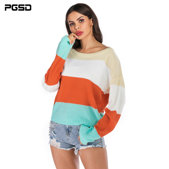 PGSD New Autumn winter Coloured knitted women sweater Bat sleeve loose O-collar simple clothes female Warm soft Casual Pullover pgsd autumn winter women clothes simple solid lace stitching short hoodie bat sleeve loose sweatshirt pullover casual top female