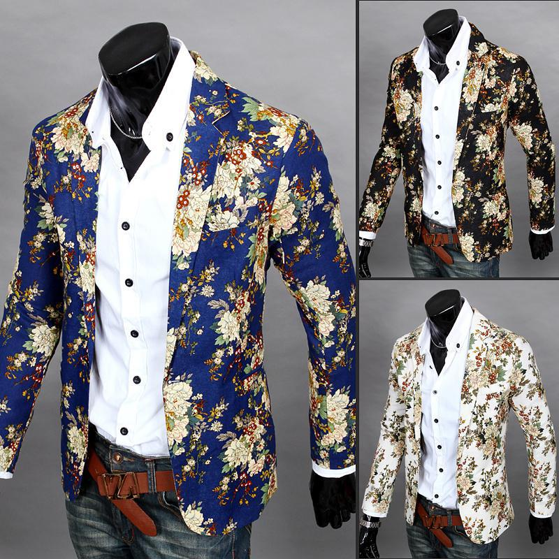 Spring And Autumn New Style Men Leisure Suit 3D Cutting Slim Fit Versatile Floral Small Suit New Style
