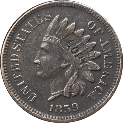 1859 Indian head cents coin copy