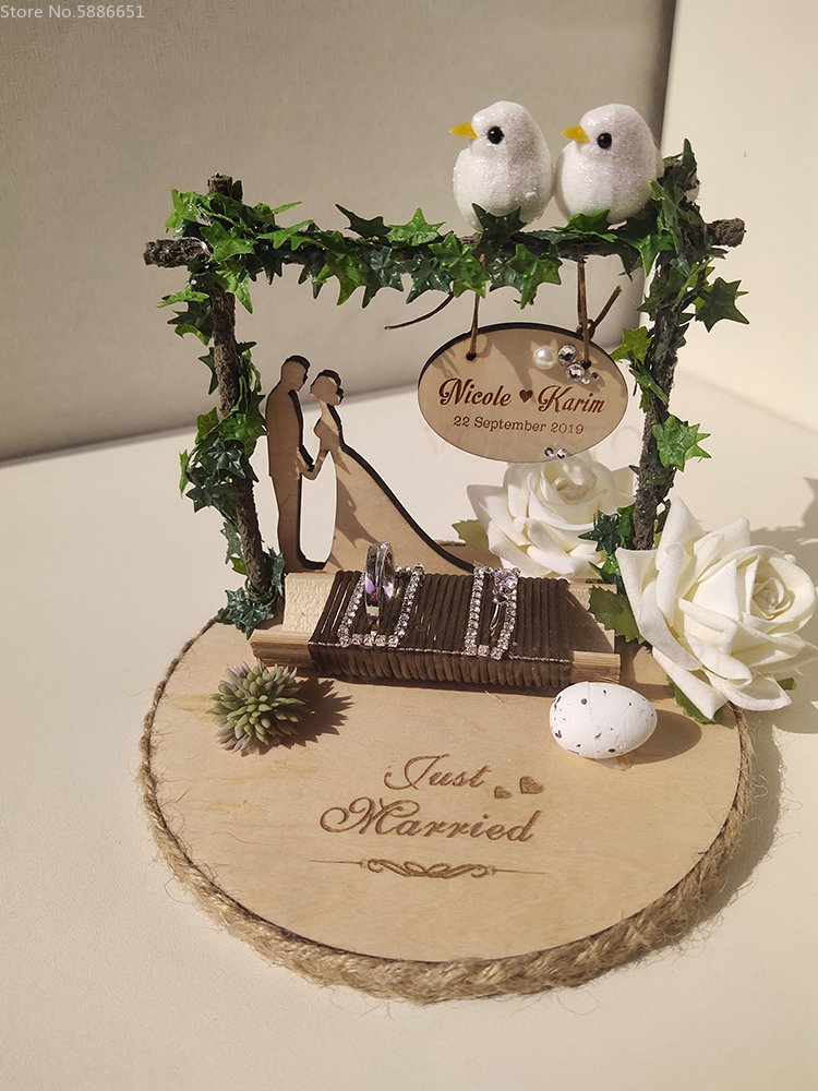 1pcs Custom Kiss Engagement Marriage Proposal Wedding Day Decoration Photo Prop Manual Ring Pillow