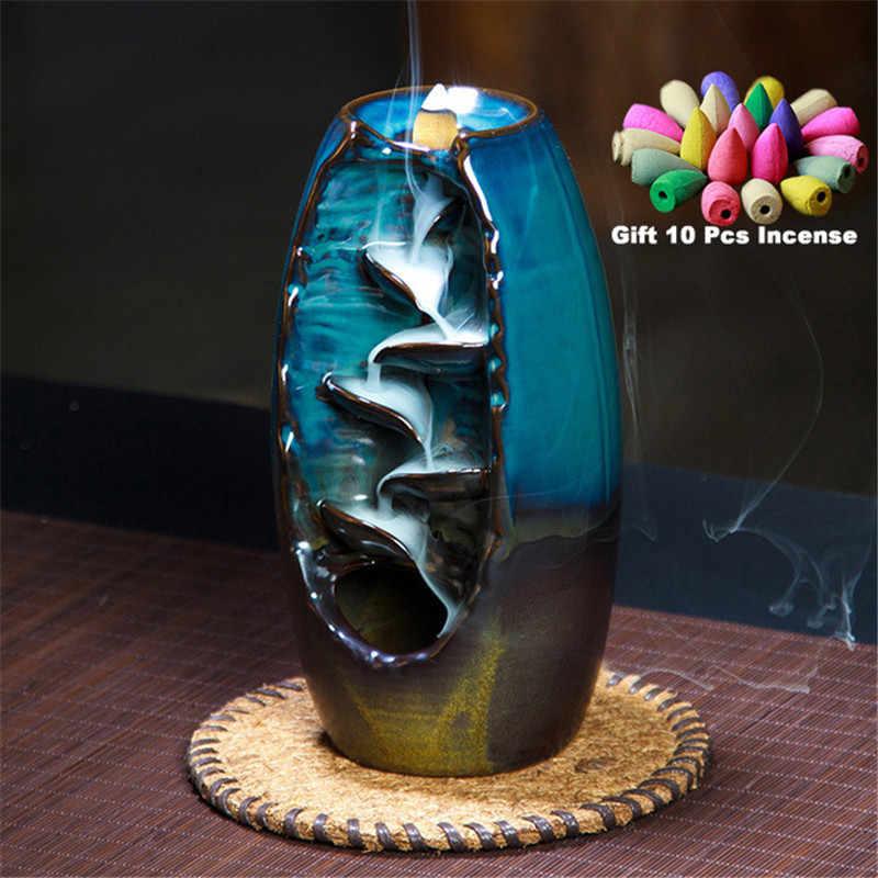 С 10 конусами Бесплатный подарок водопад курильница керамический держатель для благовоний, вариант для смешанных конусов для благовоний (размер горелки L и Размер M)