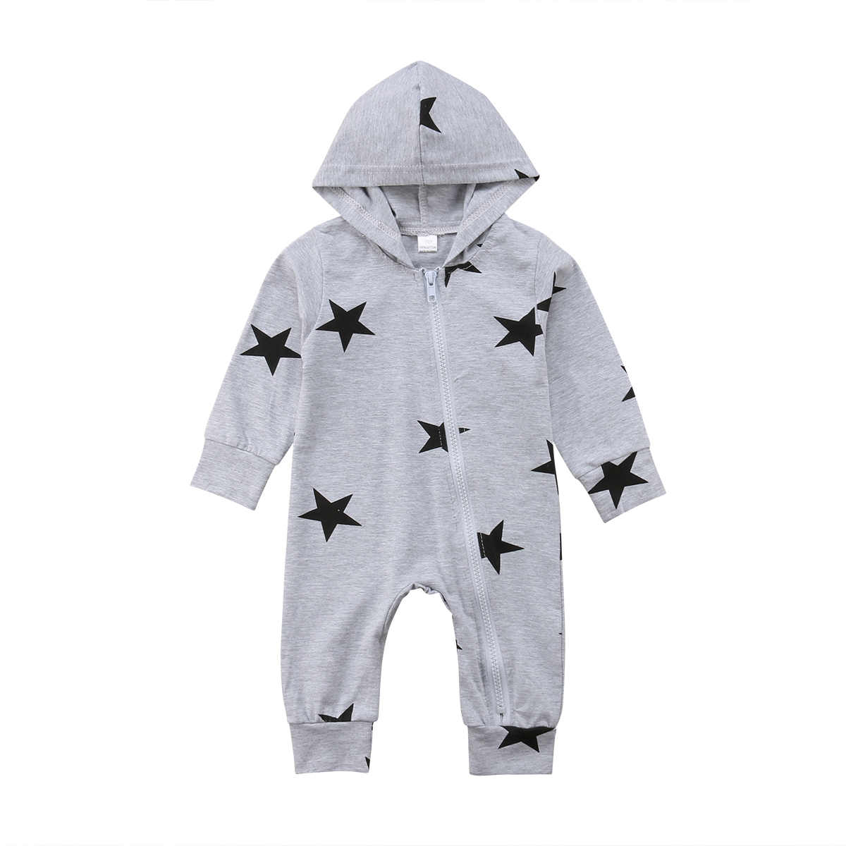 0-24M Newborn Toddler Baby Boy Girls Clothing Stars Print Hooded Romper Cute Jumpsuit Cotton Pajamas Clothes Brand Outfits