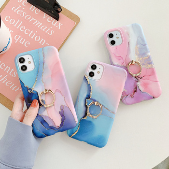 IMY Fashion marble phone soft case with finger ring holder For iphone XR X XS MAX SE 2020 7 8 plus 11 12 Mini Pro max back cover image