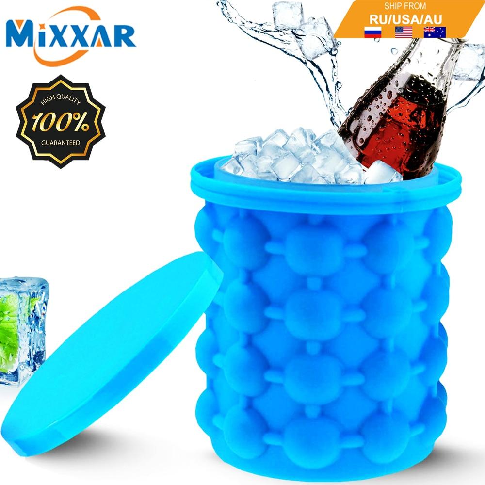 Дропшиппинг Портативный 2 в 1 большая силиконовая форма ведра льда с крышкой Экономия пространства кубик чайник инструменты для кухни вечер...
