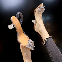 Fashion Shoes Thin-Heels Women Pumps Pointed-Toe Wedding-Party Transparent Slip-On Sexy