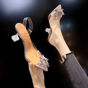 Туфли-лодочки женские прозрачные, высокий каблук, заостренный носок, без застежек, пикантная модная обувь для свадьбы, вечеринки, на тонком ...