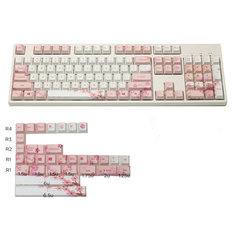JKDK sakura cinq touches de profil de cerise de sublimation de surface 108/133 pour le clavier mécanique de commutateur de mx vendant seulement le keycap