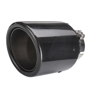 Image 2 - Universal 2inch 2.5inch 3inch  Glossy Black Carbon Fiber Car Exhaust Rear Tip Pipe Muffler Multiple Sizes