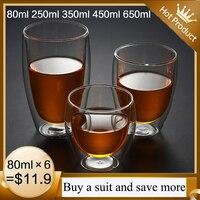 Nuova tazza di vetro a doppia parete resistente al calore birra Set di tazze di caffè Espresso tazza di birra fatta a mano bicchiere da tè bicchieri di whisky bicchieri