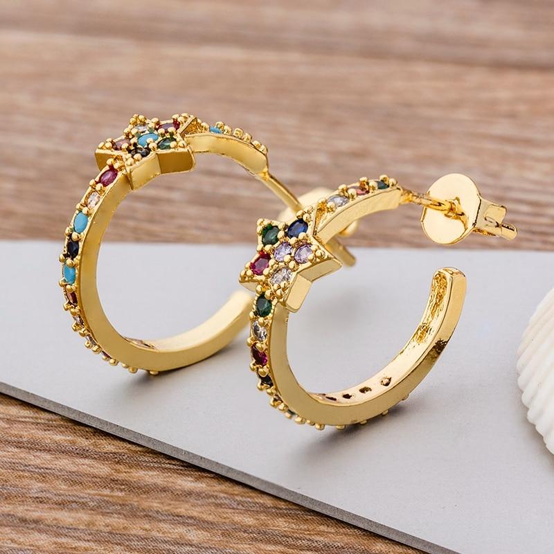 Fashion Bohemia Copper Zircon Earrings for Women Trendy Star Circle CZ Stud Earrings For Women Party Wedding Jewelry Gift
