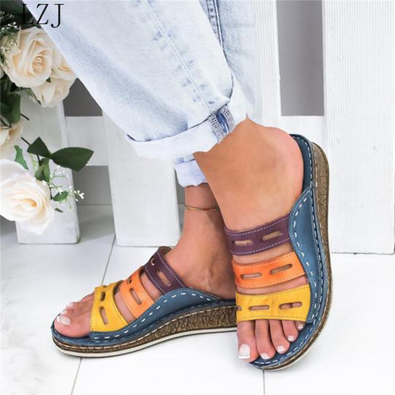 LZJ 2020 Summer Women Sandals Stitching Sandals Ladies Open Toe Casual Shoes Platform Wedge Slides Beach Shoes Dropshipping