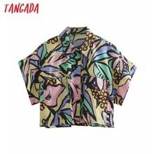 Tangada mujeres Flores Retro Print Oversize camisa de verano manga corta 2021 mujer Chic camisa blusa corta Tops 2W90