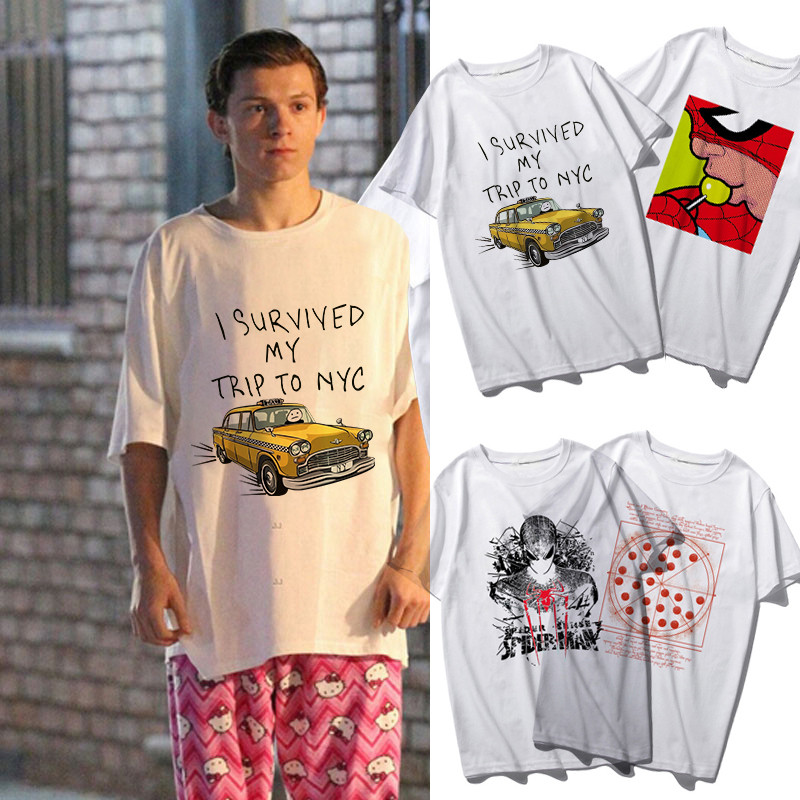 Tom Holland 2019 Marvel Superhero Spider-Man Homecoming Peter Parker Cosplay Costume Digital Print Short Sleeve T-Shirt Adult