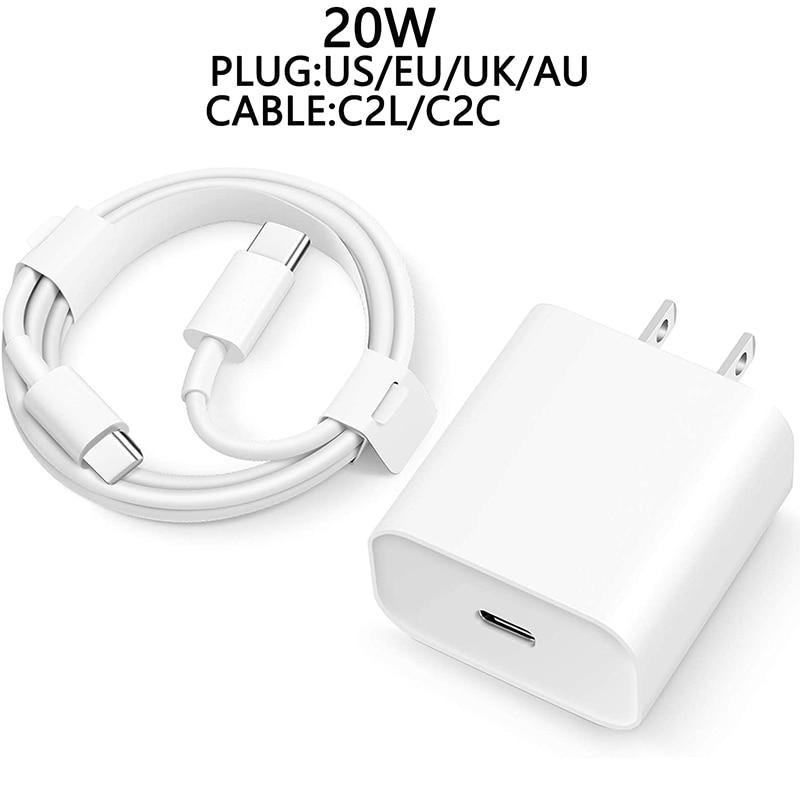 Быстрое зарядное устройство 20 Вт для iPhone 12 с вилкой Стандарта Австралии/ЕС/США/Великобритании и USB-кабелем передачи данных для iPhone 12, зарядно...