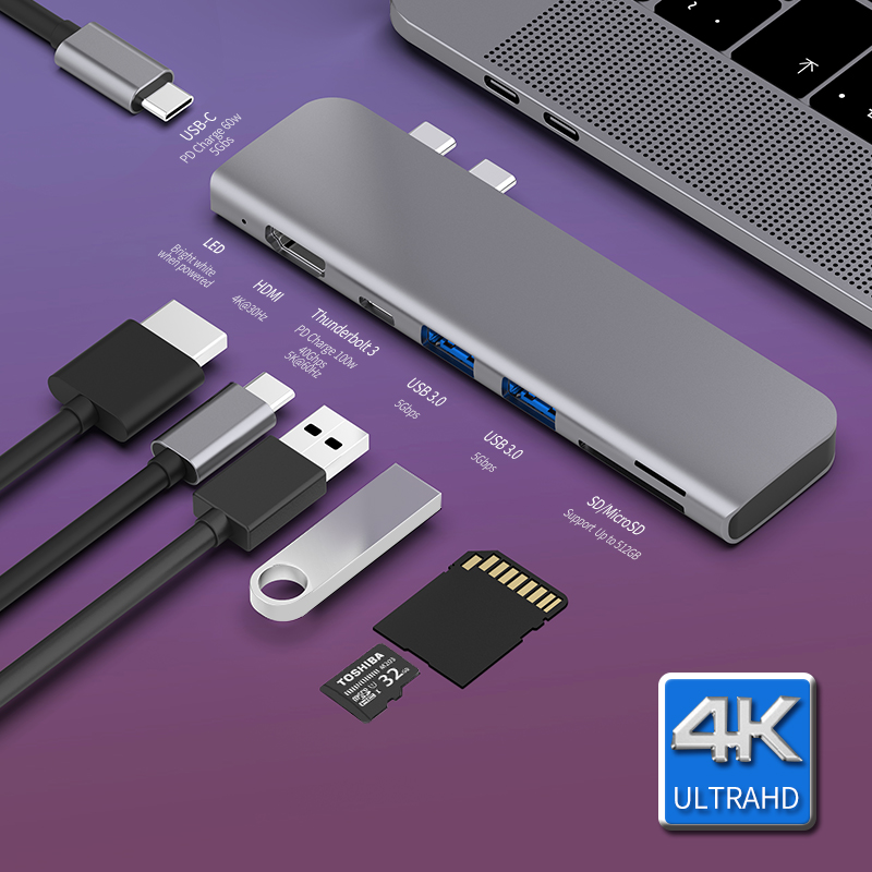 USB <font><b>3</b></font>.1 Typ-C Hub Zu HDMI Adapter 4K <font><b>Thunderbolt</b></font> <font><b>3</b></font> USB C Hub mit Hub <font><b>3</b></font>,0 TF <font><b>SD</b></font> <font><b>reader</b></font> Slot PD für MacBook Pro/Air 2018/2019 image