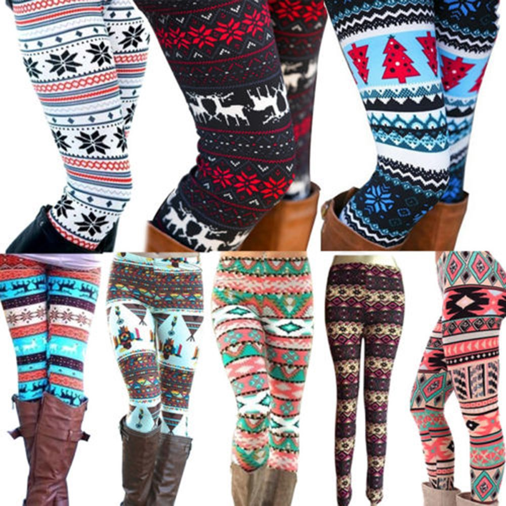 Ladies Winter Warm Christmas Snowflakes Leggings Cotton Knit Tight Fleece Stretch Pants Casual