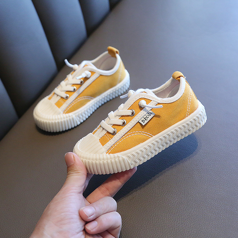 2020 New Boys Girls Shoes Children Shoes Casual Shoes Kids Sneakers Solid Color Canvas Shoes Lace Up Students Flats Size 21-30