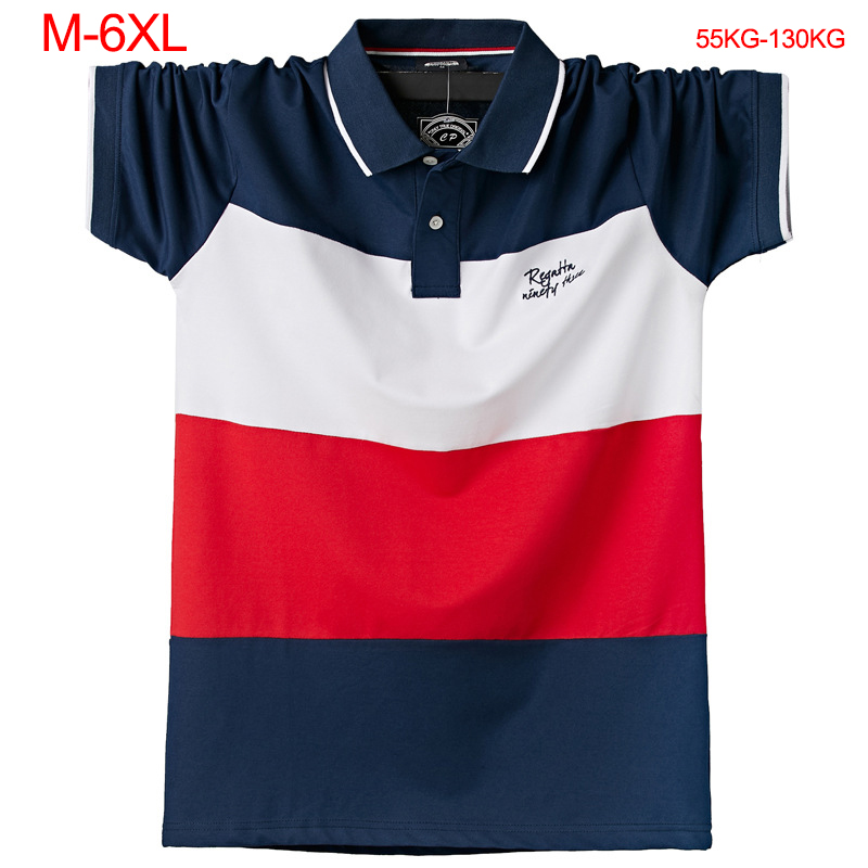 Plus Size 6XL Summer Men   Polo   Shirt Cotton Striped Short Sleeve   POLO   Shirt Lapel Collar Brand Clothing Business Casual   Polo   men