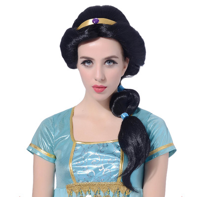 Cartoon Anime Jasmine Princess Long Braid Styled Curly hair Back High Temperature Fiber Synthetic Hair Cosplay Costume Wigs