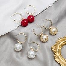Реального стерлингового серебра контактный серьги для женщин ювелирные изделия розового золота белый большой круглый жемчуг женская серьги свадебные ювелирные изделия