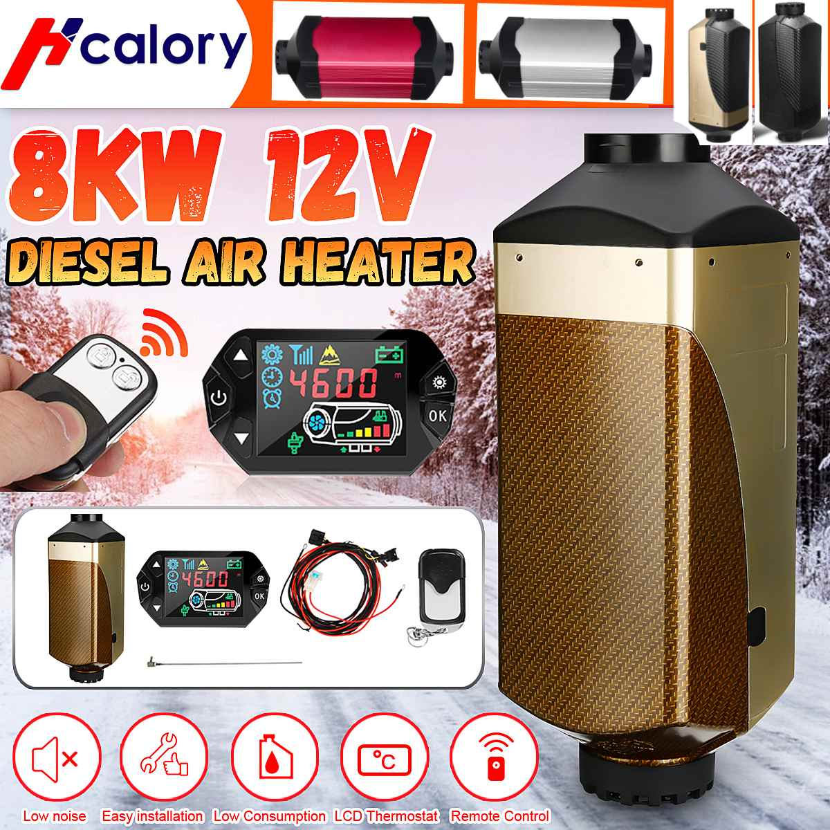 Car Heater Heating 12V 8KW Air Diesel Heater New LCD Display Switch For Webasto Boat Car Van RV Bus- Replace D4 Car Heater
