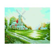 Happiness Cottage Oil Painting Diy Digital Pure Hand-Painted Living Room Bedroom Study Decorative