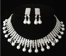 free shipping > Wedding/Bridal crystal shell pearl necklace earrings set(China)