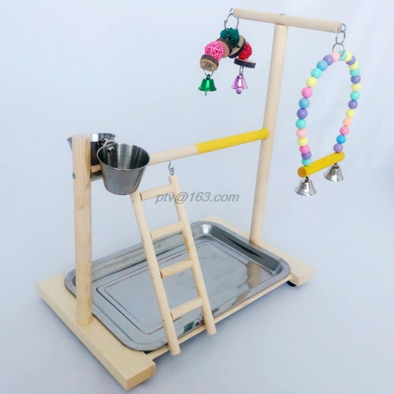 Wooden Bird Perch Stand Parrot Platform Playground Exercise Gym Playstand Ladder Interactive Toys with Feeder Cups