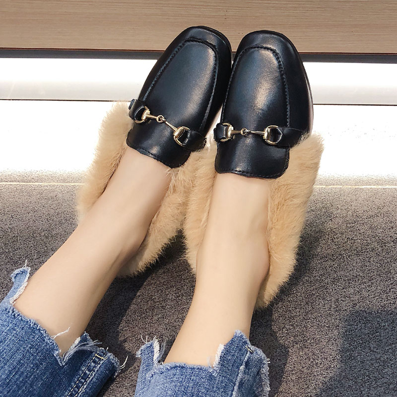 Metal chains leather flats winter loafers women shoes winter warm mules celebrity fur flat creepers soft heel moccasins mujer 38