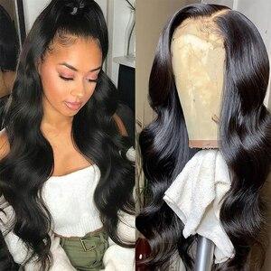 Gossamelle natural preto perucas para as mulheres peruca dianteira do laço sintético longo onda do corpo peruca resistente ao calor do cabelo da fibra