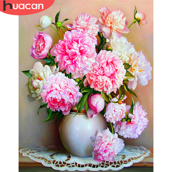 HUACAN Pictures By Number Flower Home Decoration Painting By Number Peony Flower DIY Drawing Canvas Handpainted