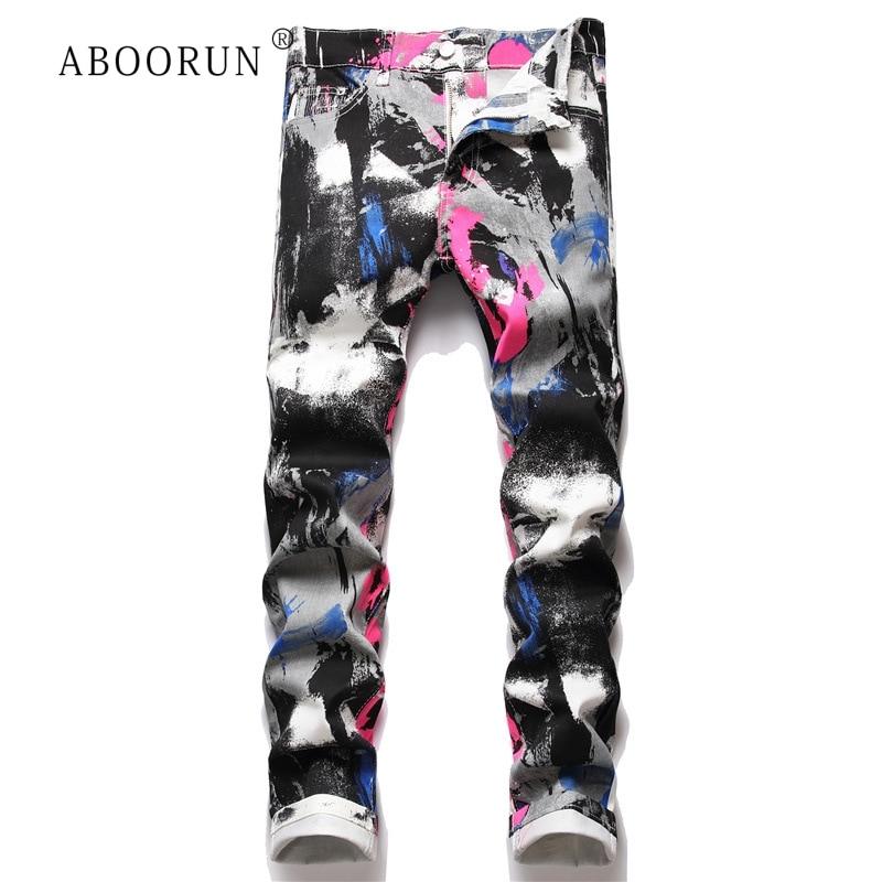 ABOORUN 2021 Men's Fashion 3D Graffiti Printed Jeans Hip Hop Streetwear Denim Pants for Male