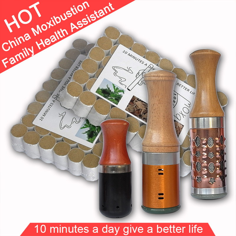 Wholesale Retail moxibustion suit new type metal moxa stick & 108pcs 5 years 45:1 little smoke mugwort roll gift cover