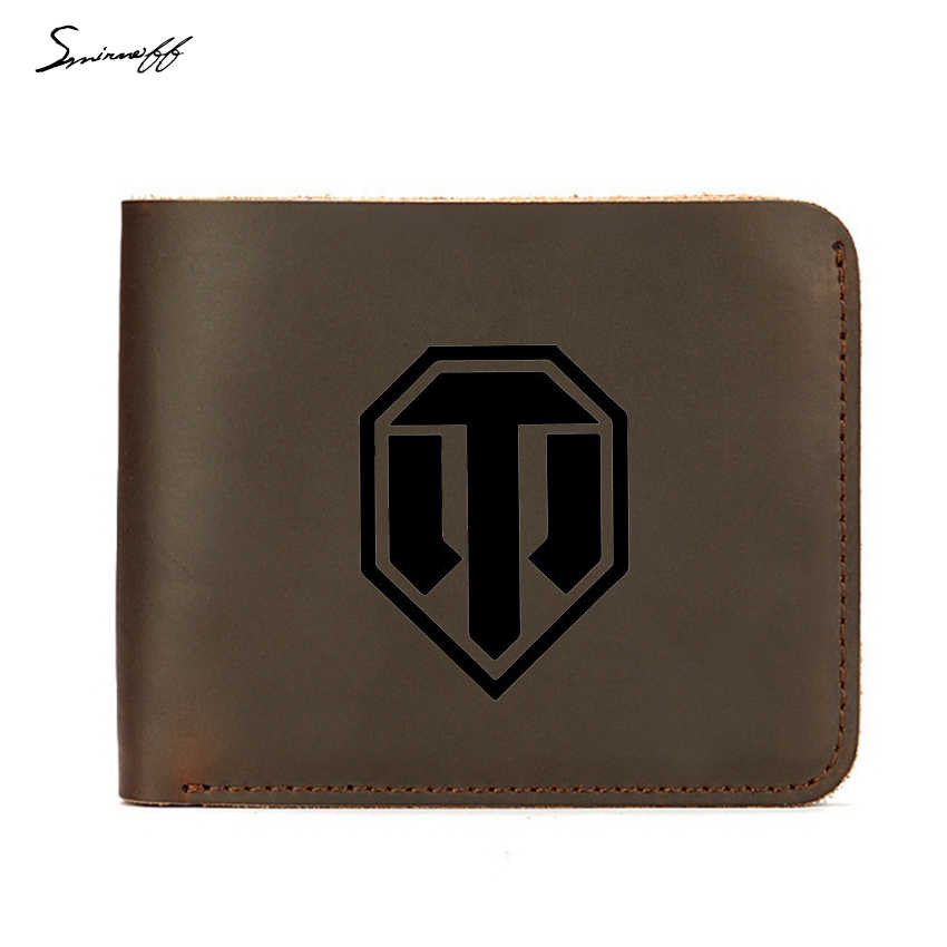 Genuine Leather Men Wallet Credit ID Card Holders Purse Short Engraved world of tanks Wallet Male