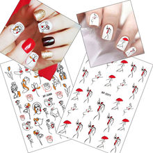 1pcs abstracte lijn sexy meisje 3D nail stickers red Cool paraplu vrouw Retro Ontwerp Manicure Wraps Nail Art tattoo decoratie(China)